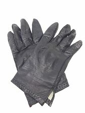 Authentic HERMES PARIS Soft Black Leather Gloves Vintage Small Medium RW45