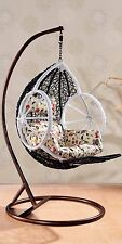 FLASH SALE!!! New Rattan Hanging Egg Pod Swing Chair With Cushion 61 Black/White