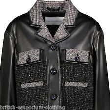 VIKTOR & ROLF Woven Tweed & Black Faux Leather Jacket BNWT IT40 UK8