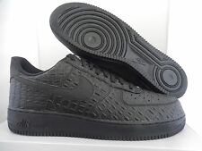NIKE AIR FORCE 1 07 LV8 SZ 10.5 ALL BLACK CROC PRINT! [718152-007]