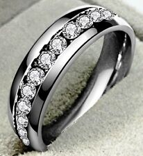 WOMENS /MENS FULL ETERNITY 4MM BAND STYLE RING SZ Q US 8 SWA CRYSTAL SILVER SS