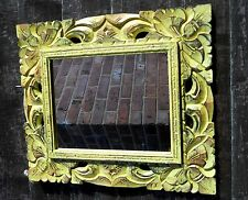 Wall Mirror Home Décor Art Rectangle 38 cm x 32 cm Wooden Frame Shabby Yellow