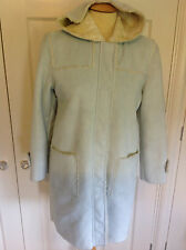 GAP gorgeous baby blue hooded faux suede coat cream faux fur backing XXL 13 yrs