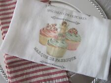 ~ French Inspired Flour Sack TEA Towel Cupcakes CUPID Patisserie ~