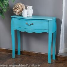 Shabby Chic Inspired Design Blue Wood Drawer Console Table