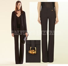 GUCCI PANTS DEEP BROWN SATIN SKINNY FLARE TROUSERS BAMBOO DETAIL sz IT 42 US 6