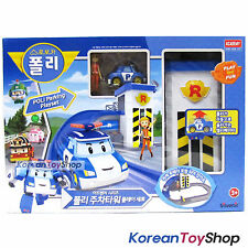 Robocar Poli Parking Play Set w/ Poli Diecast Metal Mini Car & Jin Figure