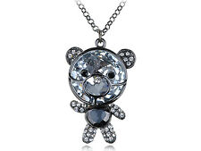 Adorable Clear Crystal Rhines  Movable Head Teddy Bear Pendant New Necklace