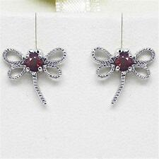 Natural Dragon Fly Garnet 9K 9ct 375 Solid Gold Stud Earrings Bravo Jewellery