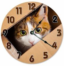 "CAT IN BOX Clock - Large 10.5"" Wall Clock - 2094"