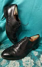 Johnston & Murphy Crown Aristocraft Black Leather Wing Tip Dress Shoes - 10 D