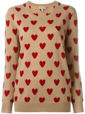 new BURBERRY BRIT OYKHEL Heart Intarsia Merino Wool Crewneck Sweater in Camel L