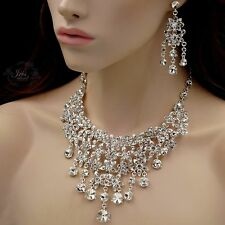 Silver Plated Clear Crystal Necklace Earrings Bridal Wedding Jewelry Set 00050