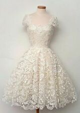 New Tea-length White/Ivory Lace Formal Wedding Bridal Gown Dress Custom Size