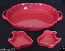 """Red Serving Casserole Dish w/Handles BIA Vintage 12"""" Oval an d"""
