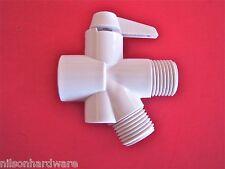2 Way Shower Diverter Valve White Head Arm Flow Handheld Fixed Showerhead