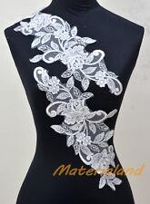 PAIR of White Guipure Venise Lace Applique Trims Rose Motif Craft #VL07A