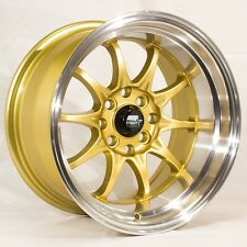 MST MT11 15x8 4x100/114.3 +0 Gold Rims Fits Miata Integra Civic Si Fit Golf