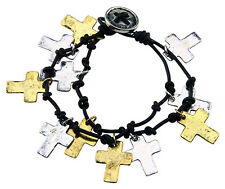 Silver Gold Crosses Bracelet Double Strand Knots Free Shipping Fashion Jewelery