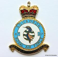 RAF 47 Squadron DANBURY MINT Blank Badge -24ct Gold Detail 1970s Royal Air Force