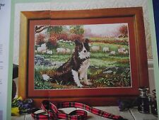 READY FOR WORK SPIRITED BORDER COLLIE ROUNDING UP THE SHEEP CROSS STITCH CHART
