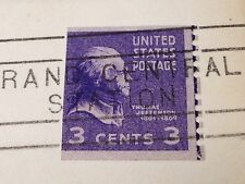 VINTAGE UNITED STATES POSTAGE 3 CENT STAMP 1952 THOMAS JEFFERSON NEW YORK LETTER