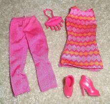 BARBIE DOLL CLOTHES - PINK CAPRI, LONG TOP, SHOES, PURSE
