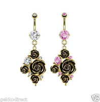 Surgical Steel Gold IP Black Rose Cluster Belly Bar with CZ Gem Navel Ring