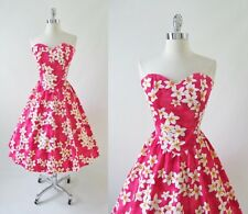 Vintage 80's / 50's Look Pink Plumera Full Skirt Hawaiian Luau Sundress Dress M