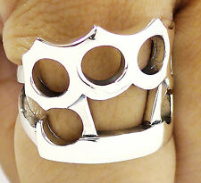 BIG KNUCKLE DUSTER SOLID 925 STERLING SILVER PUNK BIKER MENS RING Sz 14.5
