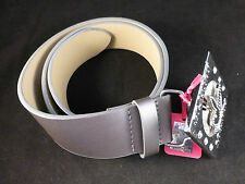 Unusual Playboy Grey Metallic Belt with Rotating Bunny Silver Buckle Small