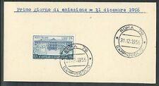 1956 ITALIA FDC RISPARMIO POSTALE - FRANCOBOLLO APPLICATO SU CARTONCINO