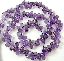 "NATURAL LILAC BRAZILIAN AMETHYST SMOOTH TEARDROP 90 BEADS 14""  Z35"