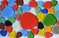 40 St. Pebbles Soft-Glas Mosaiksteine Buntmix  in 4 versch. Größen ca. 105g.