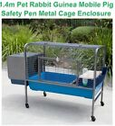 Pet Rabbit Guinea Pig Mobile Safety Pen Hutch House Metal Cage Enclosure 1.4m