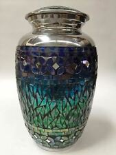 ADULT BLUE AND GREEN MOSAIC CREMATION URNS,NEW MEMORIAL HUMAN FUNERAL URN  BLU