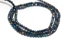 """MYSTIC COATED BLACK SPINEL 2-3MM RONDELLE FACETED LOOSE BEADS 13"""" STRAND"""