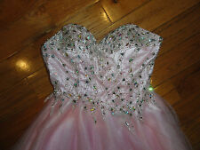 AMAZING   MAY QUEEN COUTURE STRAPLESS BEADED PINK HOMECOMING DRESS 4 PERFECT!