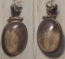 Pendentif  quartz rutile , cristal de roche    argent massif