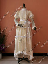Victorian Edwardian Downton Abbey Ivory Lace Wedding Gown Bridal Dress 353 XL