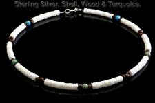 1SH-153 Sterling Silver, Wood,Turquoise & Clam Shell Choker Men Necklace