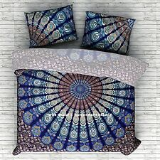 Indian Peacock Mandala Hippie Duvet Cover Blanket Comforter With 2 Pillow Cover