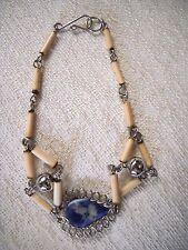 HAND CRAFTED BLUE AGATE TEARDROP, WOUND WIRE, SILVER TONE & BUGLE BEAD BRACELET