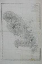 Grande Carte Martinique de 1831 Monnier Le Bourguignon Dupré