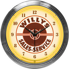 Willy's neon clock sign Jeep Willy 4x4 sales and service licensed willys kaiser