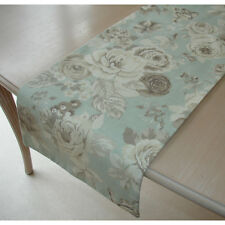 "Small 3ft Coffee Table Runner Roses Beige Brown Cream on Duck Egg Blue 36"" 90cm"