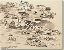 """GEORGE BARTELL art Ford Stock Cars 22""""x17"""" pen & ink by artist George Bartell"""