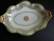 VINTAGE LIMOGES J.C GOLD AND GREEN PATTERN BOWL SERVER FRIUT BOWL