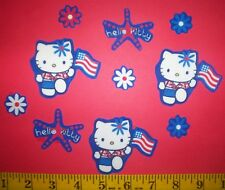 New! Cool! Patriot Hello Kitty 4th of July Iron-on Fabric Appliques ~ Iron ons