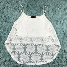 Annebelle Women's White Lace High-Low Crop Tank Top Size M